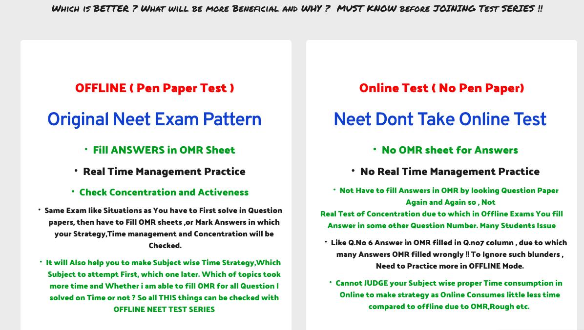 NEET ONLINE TEST SERIES vs Neet OFFLINE TEST SERIES