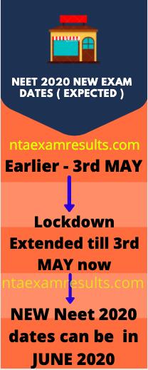 neet exam dates 2020